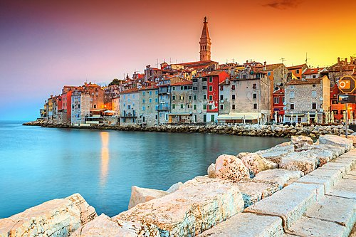 The stunning old town of Rovinj along the coast of Istria