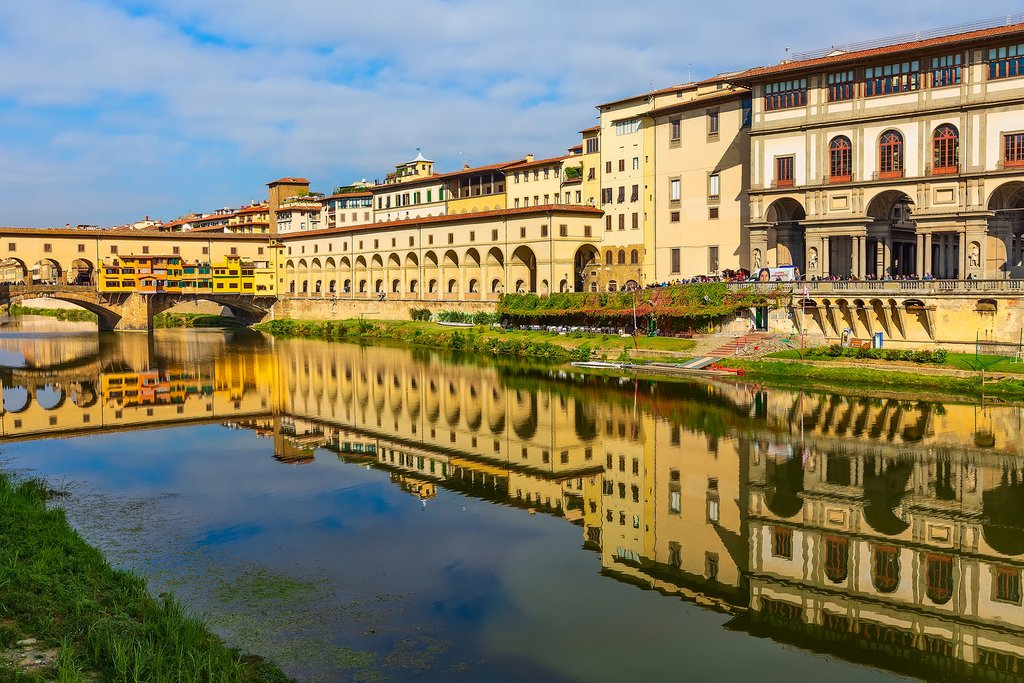 Shop along medieval Ponte Vecchio before visiting the Uffizi Gallery