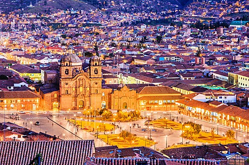 Cusco, historic capital of the Inca Empire, by night