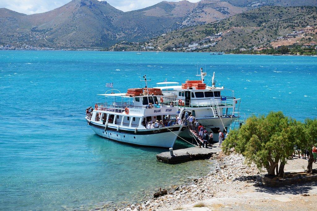 Tourist ferries off Spinalonga