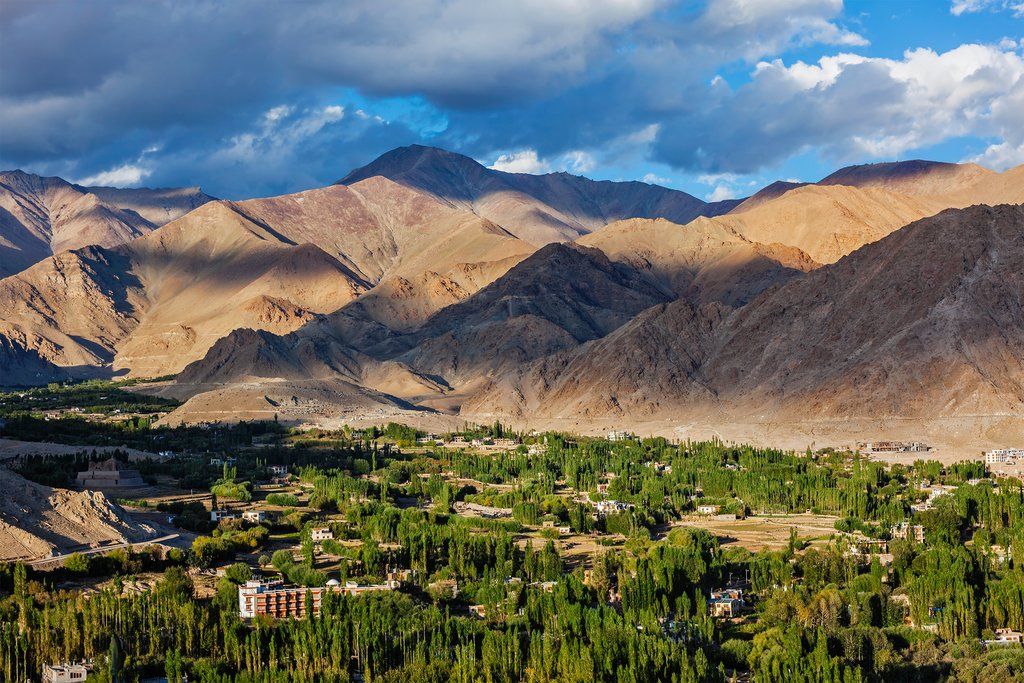 View of Leh from above from Shanti Stupa
