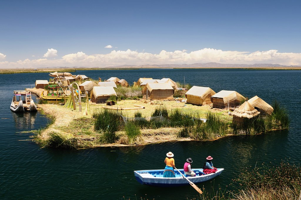"Lake Titicaca and the ""floating islands"" made from reeds."