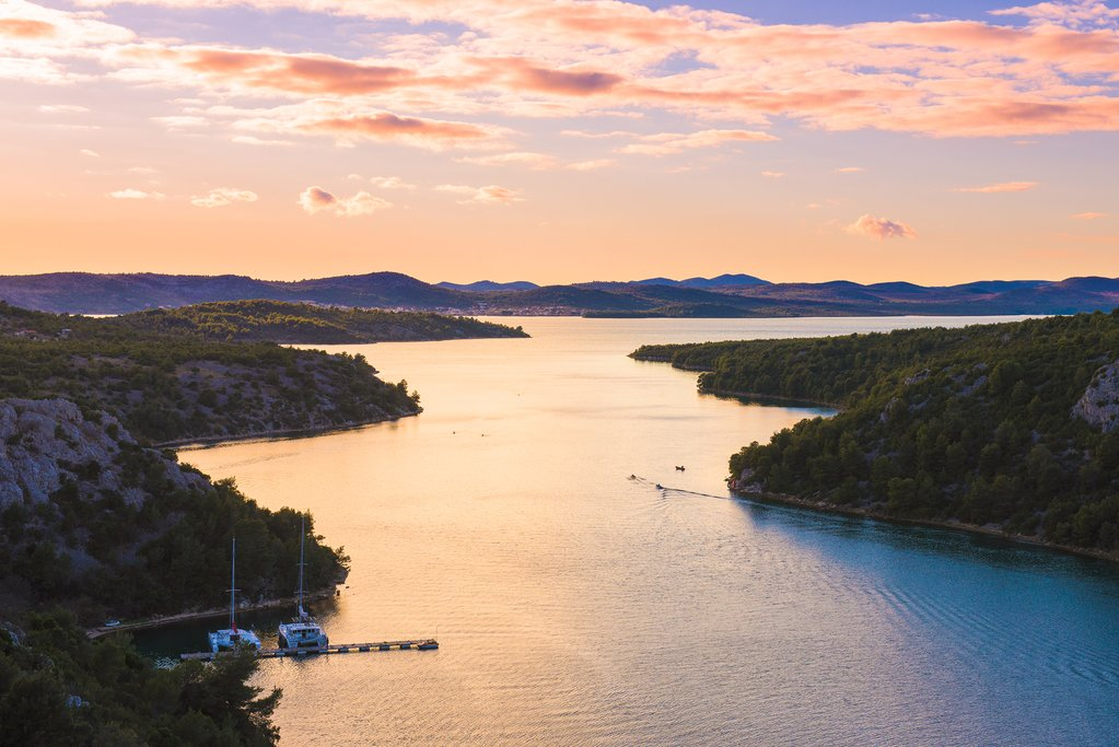 Sunset over the Krka river estuary and Lake Prokljan, near Skradin