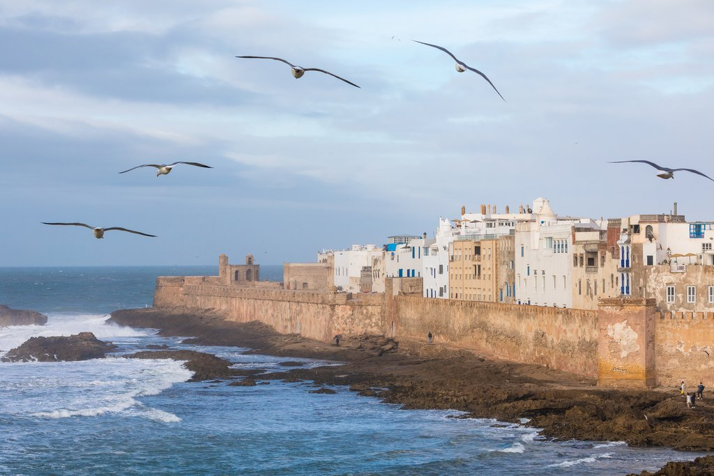 Essaouira's ancient city walls along its harbor
