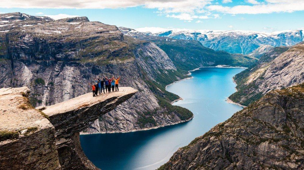 Happy hikers at Preikestolen (Pulpit Rock)