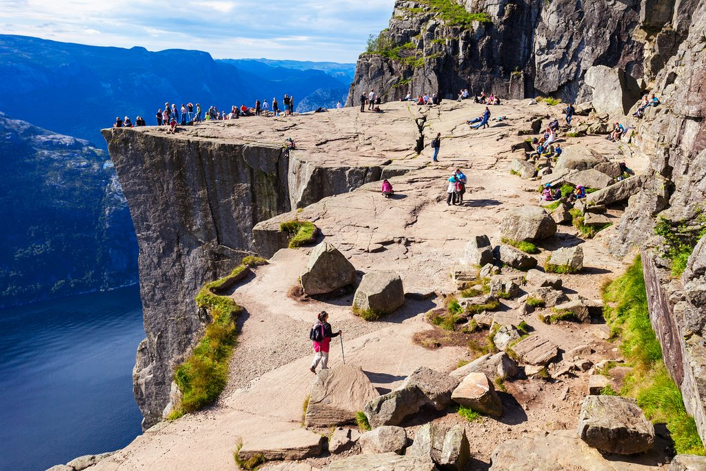 Pulpit Rock is a popular hike during summer months with incredible fjord views