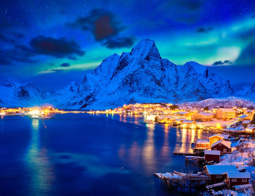 Look for the Northern Lights while driving through the Lofoten Islands