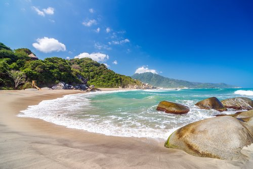 One of Tayrona's stunning beaches on the Caribbean Sea