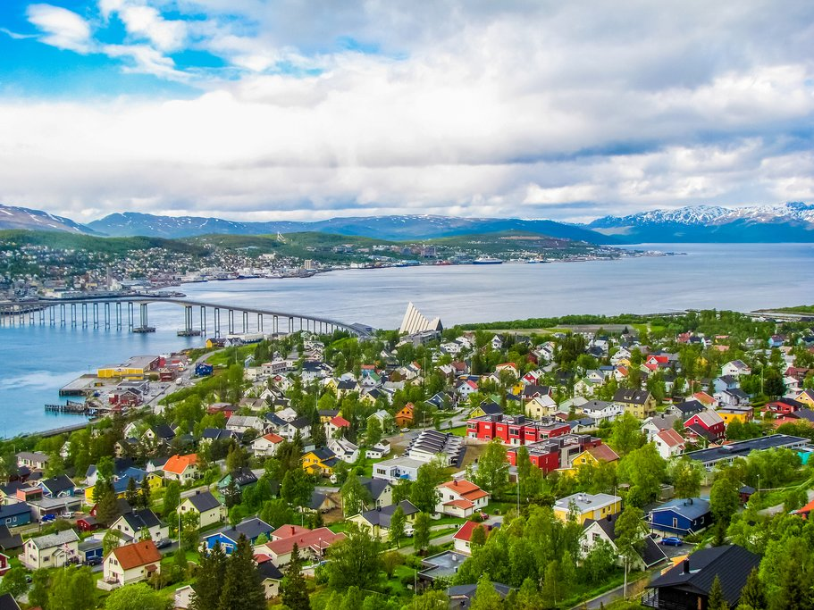 An aerial view of the Arctic city of Tromsø in summer.