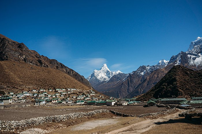 View of lower Pangboche village with Ama Dablam in the background