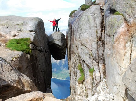 Would you stand here? The Kjerag boulder hanging 960 meters / 3150 feet above sea level!