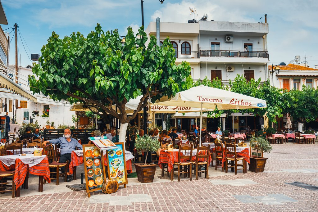 Taverna in a square on Crete
