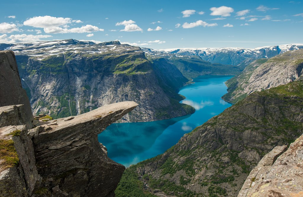 Hike up to these views overlooking Lake Ringedalsvatnet and stay overnight.