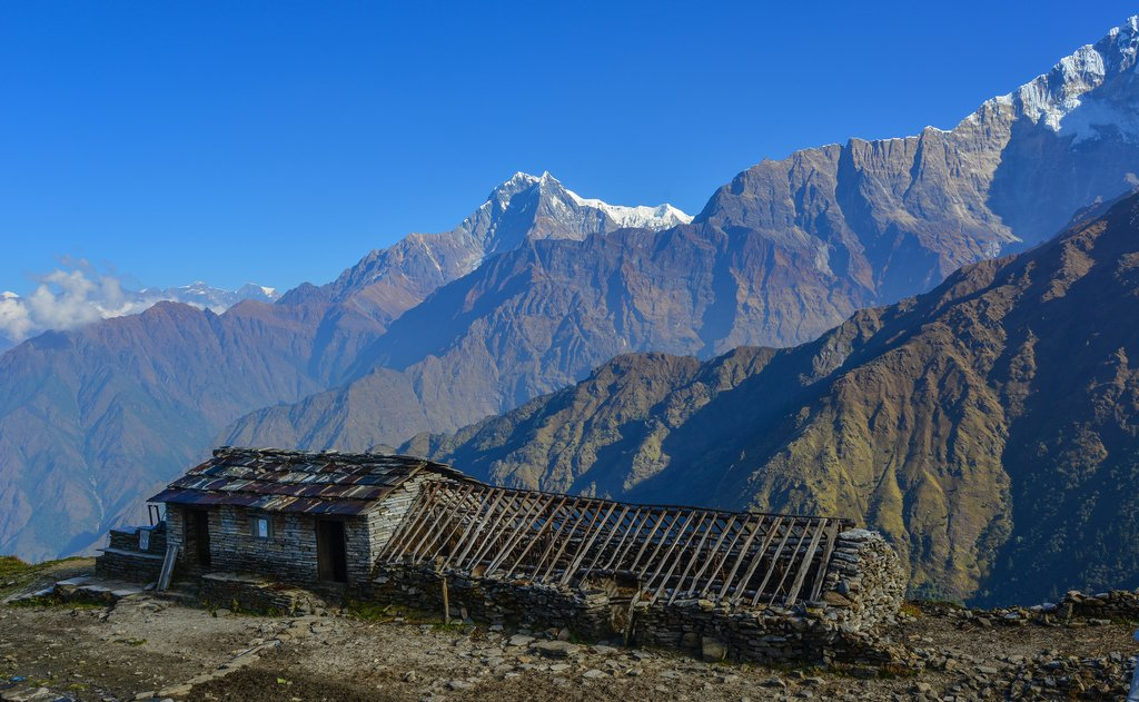 Views of the Annapurna Himalaya from the Khopra Danda teahouse