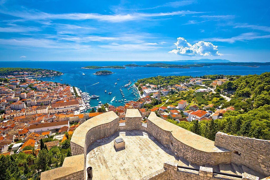 Hvar Town and the Pakleni Islands archipelago in the distance