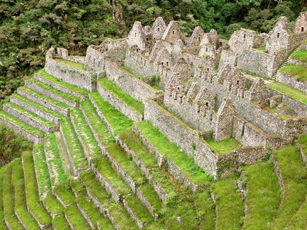 The Inca trail leads to the ruins of Machu Picchu