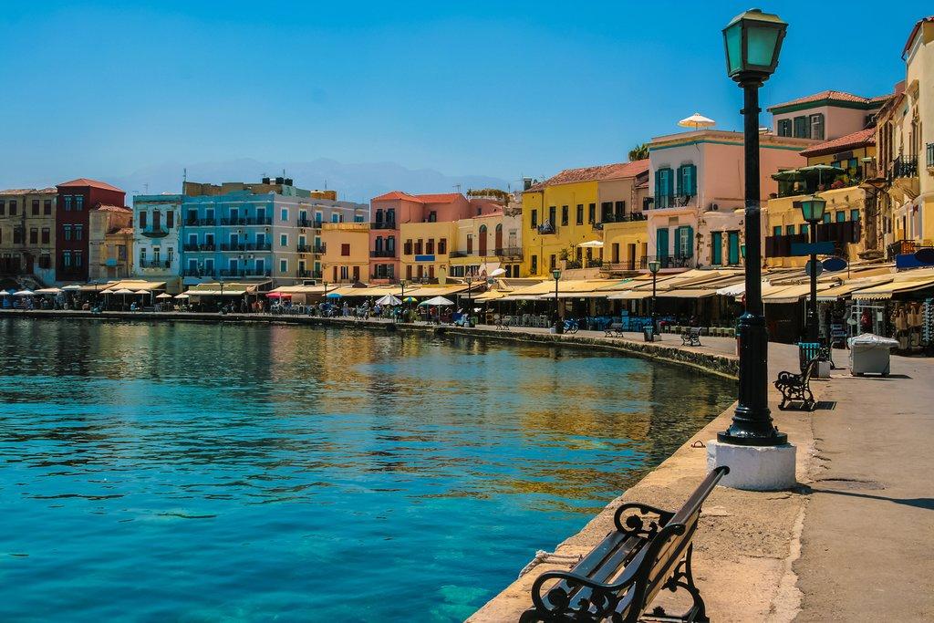 The charming promenade of Chania, Crete
