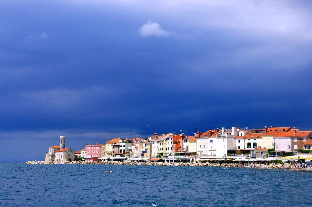 Admire views of the Adriatic from Piran's seaside promenade