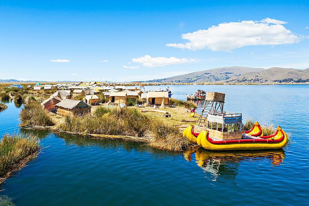 Uros floating island on Lake Titicaca