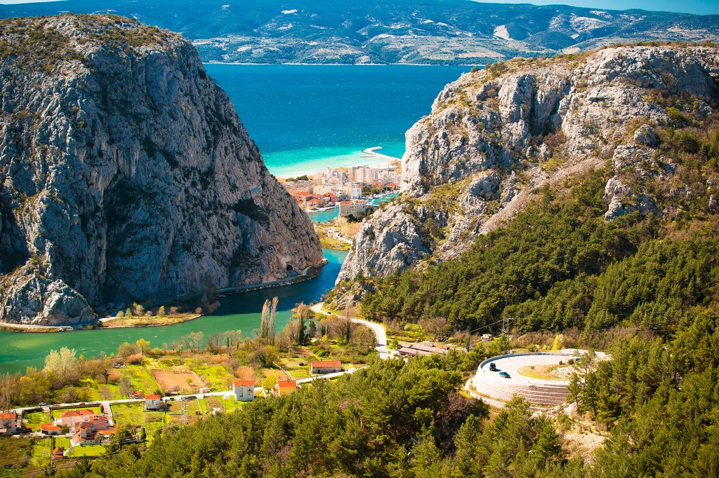 The town of Omis at the mouth of the Cetina River, southeast of Split