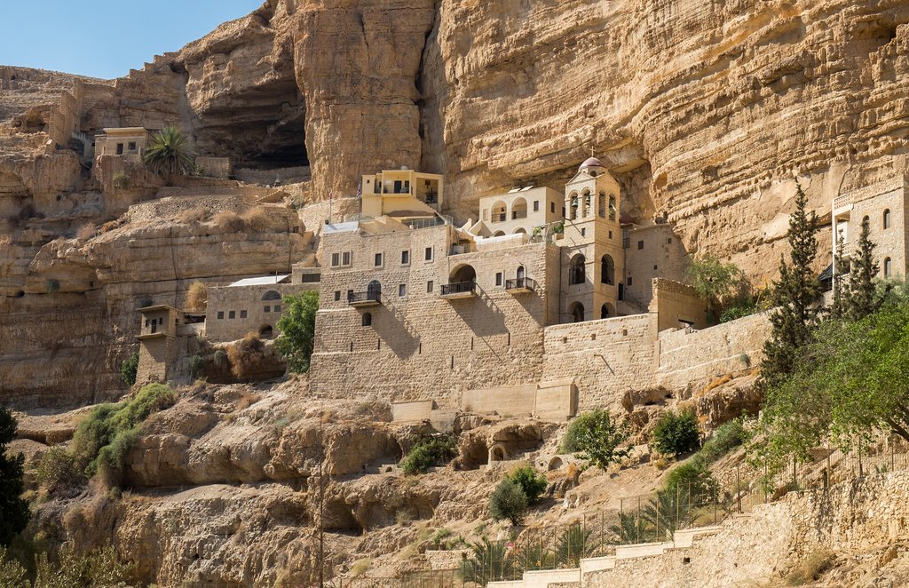 Visit the cliff-hanging St. George Monastery in Israel's Wadi Qelt