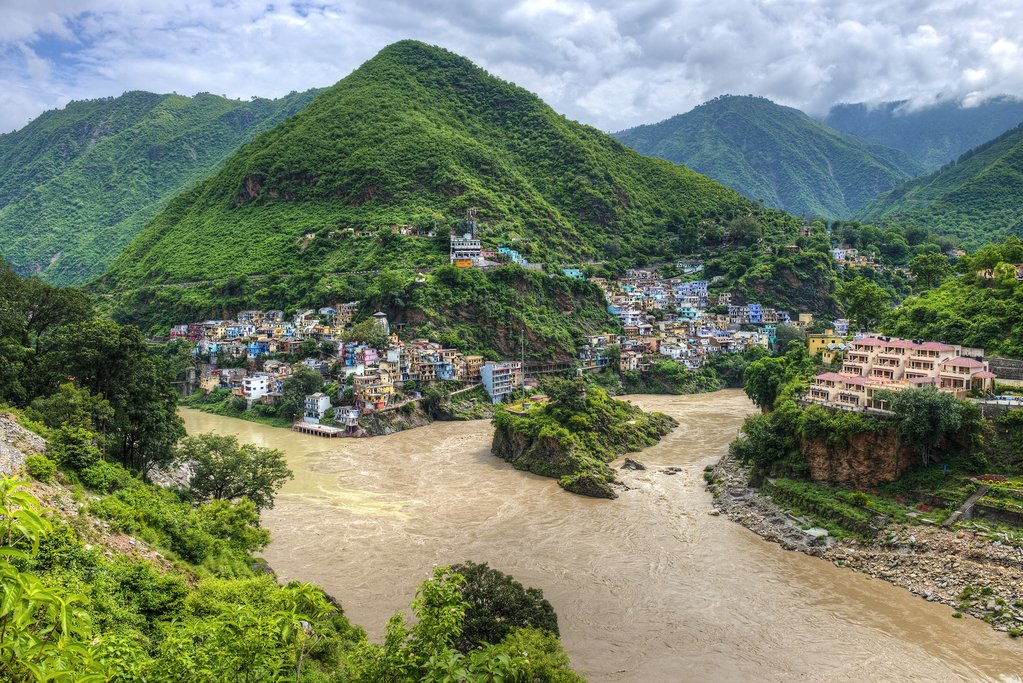 Two rivers (Bhagirathi and Alaknanda) merge to create the Ganges