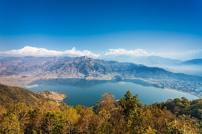 View of Phewa Lake, Pokhara, and the Annapurna range from the World Peace Pagoda