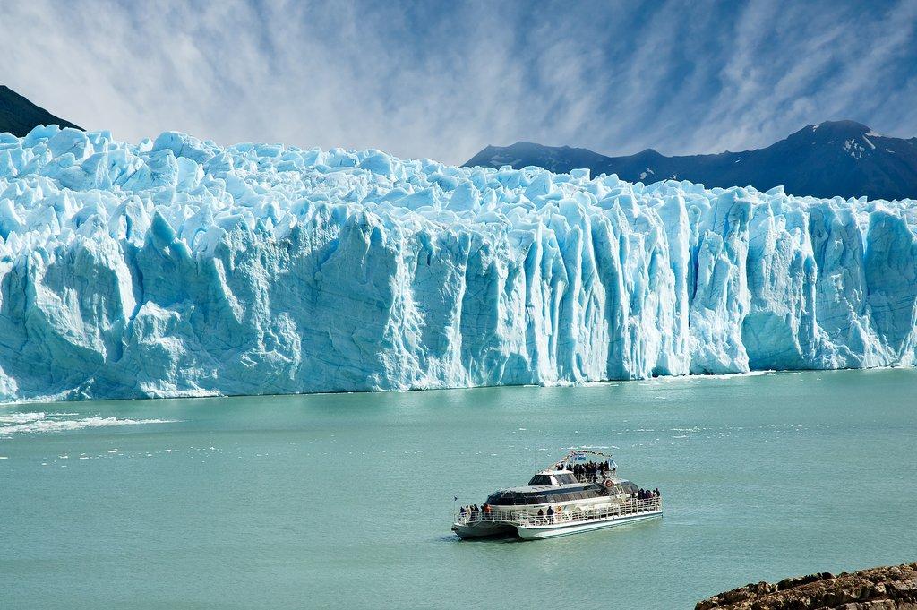 Boat sailing near Perito Moreno glacier
