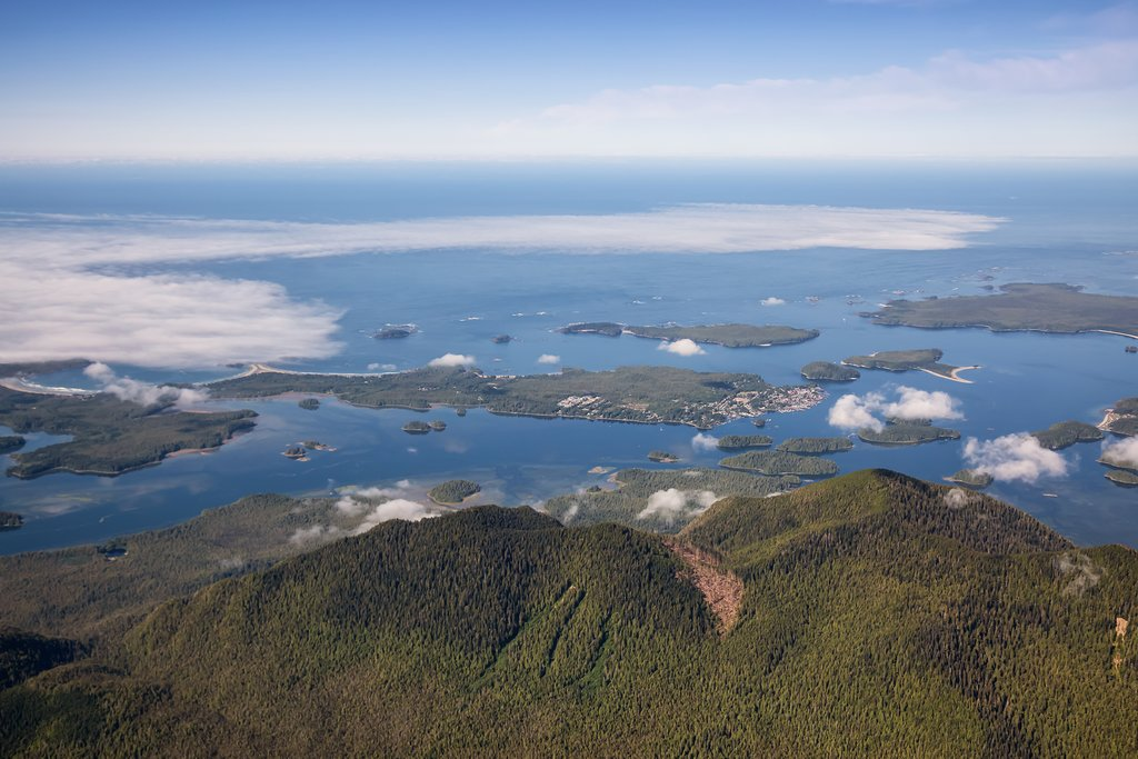 Aerial view of Tofino along the Pacific Rim