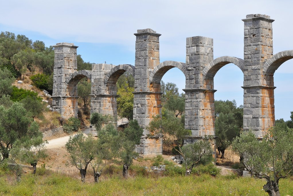 A historic aqueduct on the island of Lesvos, Greece