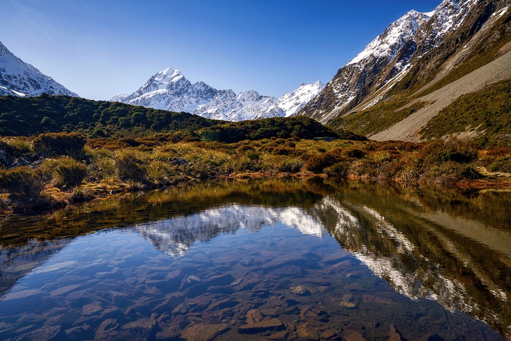 Reflection of Mount Cook on a hidden tarn in Aoraki Mount Cook National Park