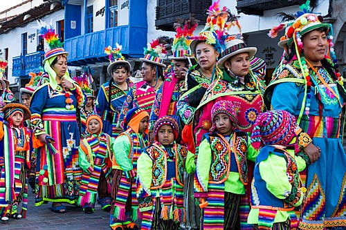 Local children participate in one of Cusco's myriad colorful festivals