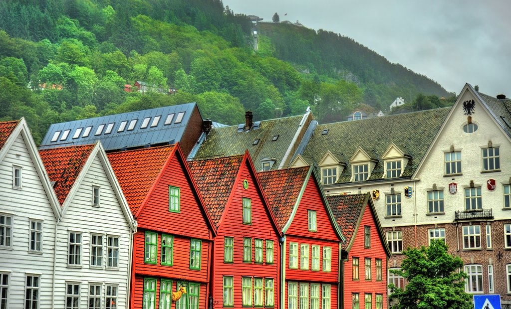 The historic Bryggen district along Bergen's picturesque wharf.