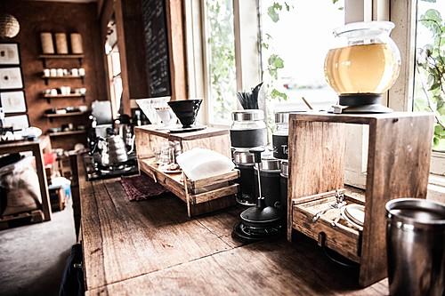 Inside the cozy Kar.ma Coffee shop