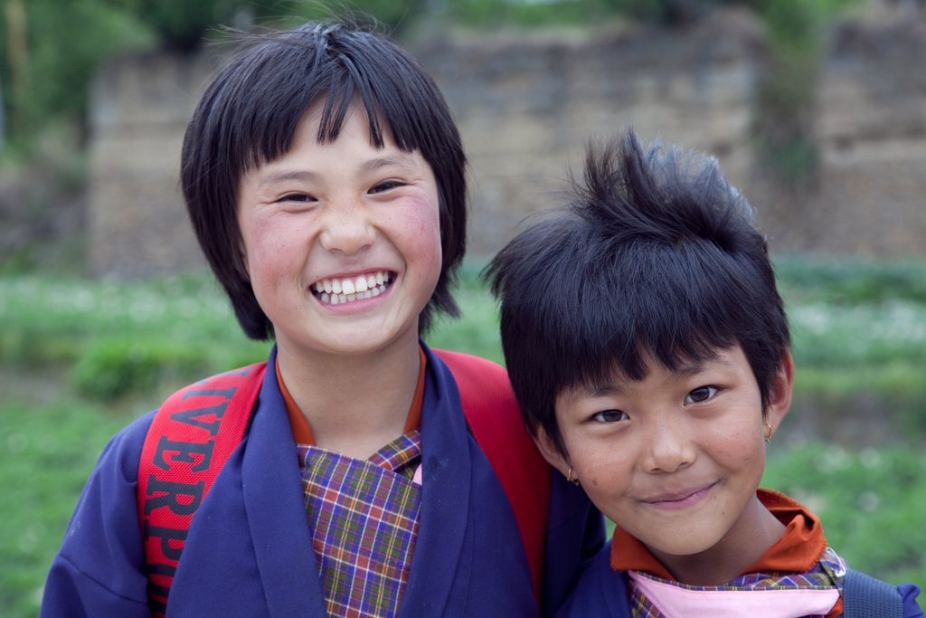 School kids in Thimphu valley