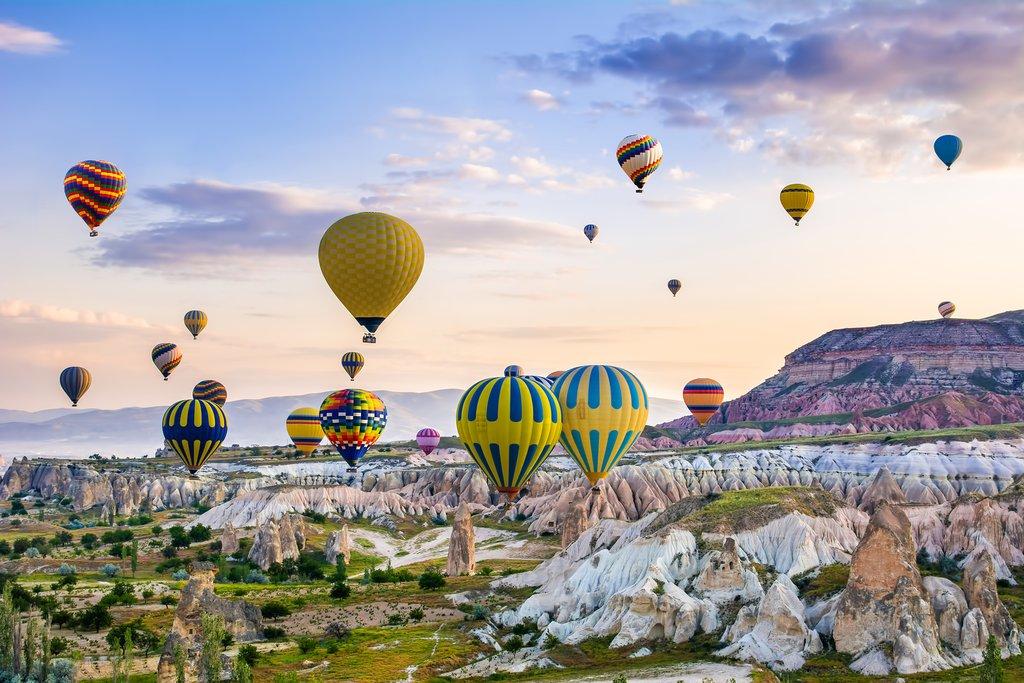 Fly high above Cappadocia in a hot air balloon