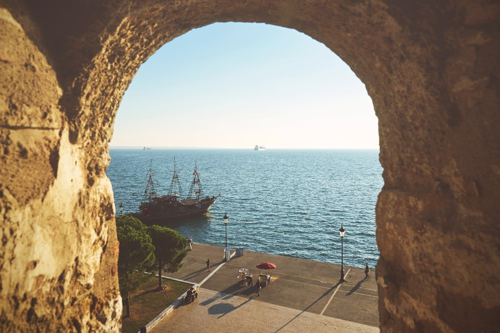 View of the sea from inside Thessaloniki's White Tower