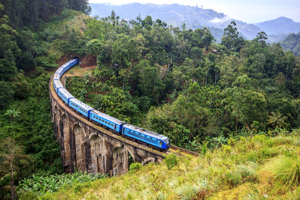 A train weaves its way through the hill country near Nuwara Eliya