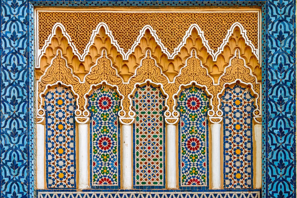 Intricate carving and mosaics in Fes