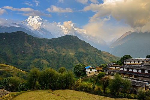 The village of Ghandruk with Annapurna South towering in the background