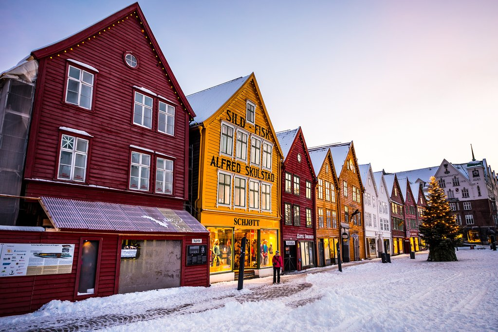 Bergen's colorful waterfront looks especially festive during the holidays