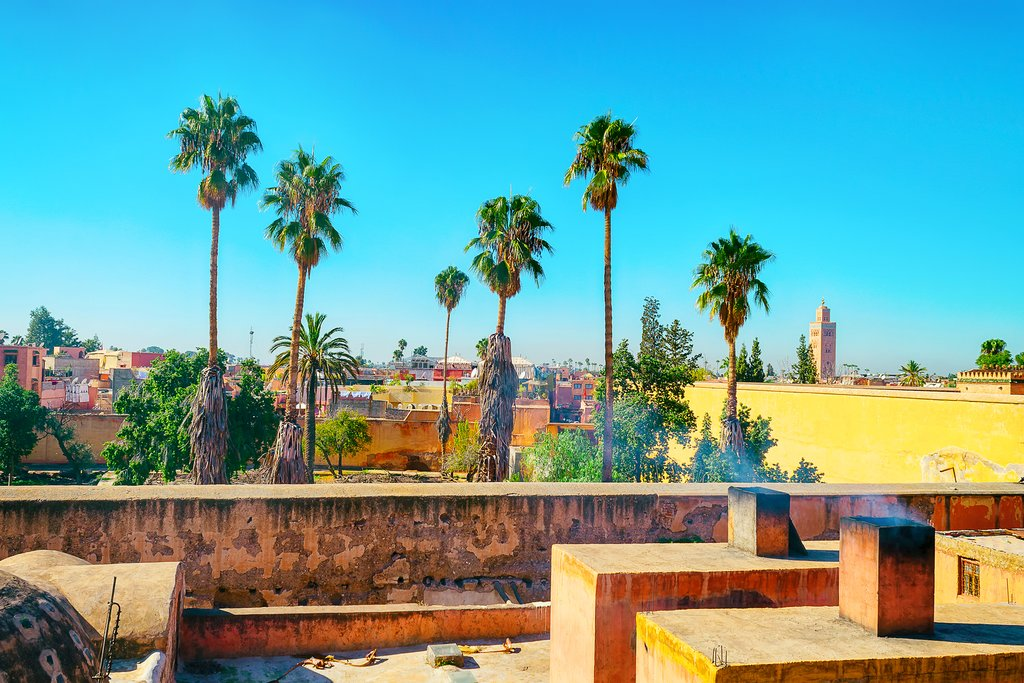Roof view of the beautiful architecture of Marrakech, Morocco