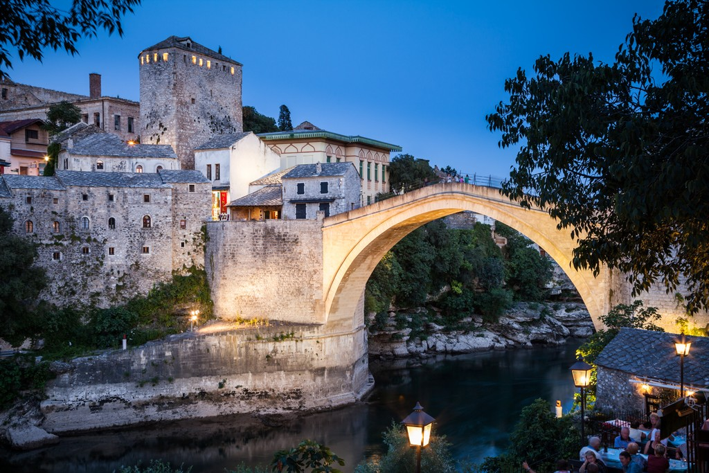 The Old Ottoman Bridge in Mostar at night