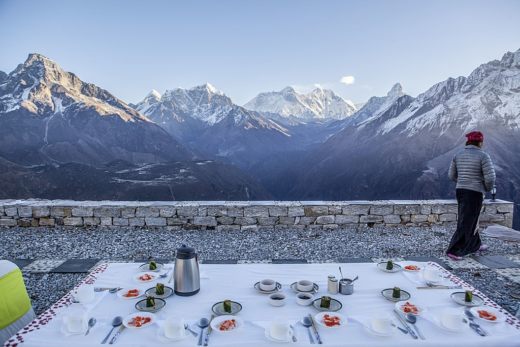 The ultimate breakfast view at Yeti Mountain Home, Kongde