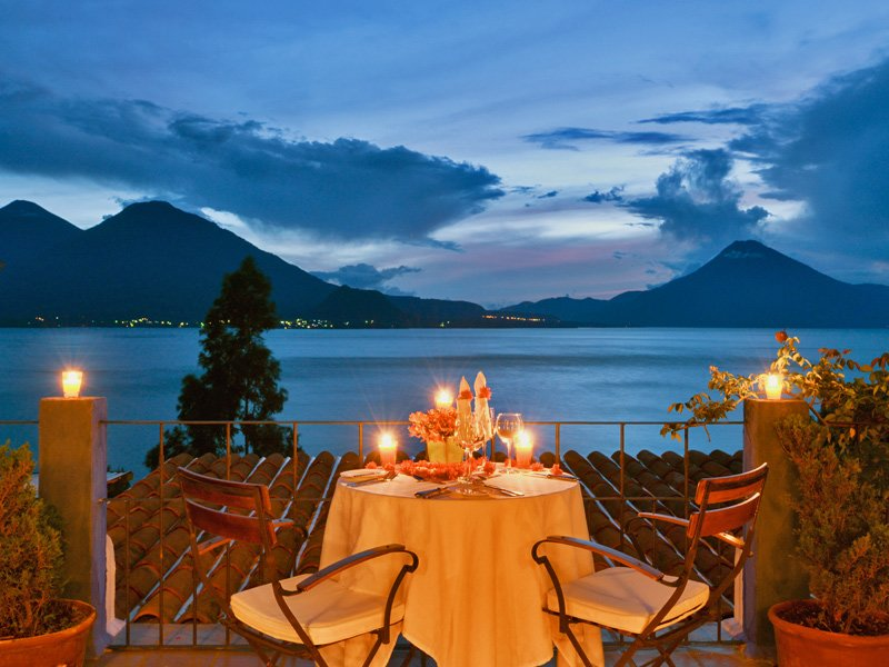 Lake Atitlán surrounded by 3 volcanoes