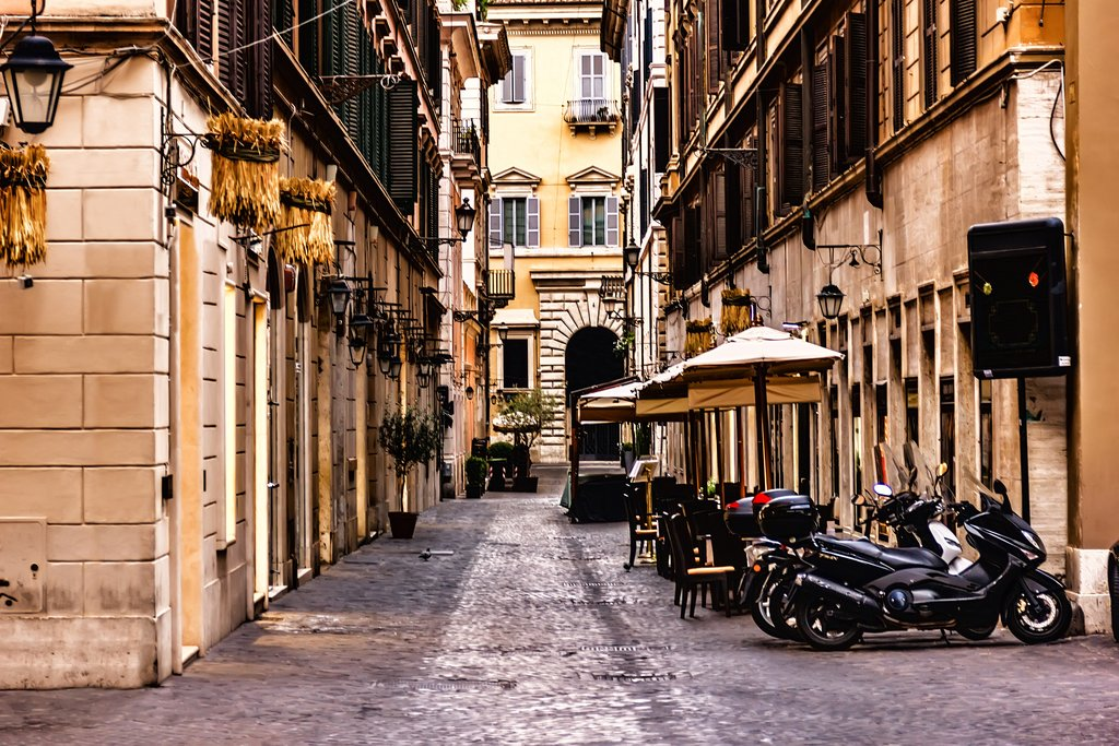 Scooters on a Narrow Street in Rome