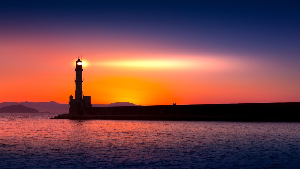 Sunset behind the Chania lighthouse