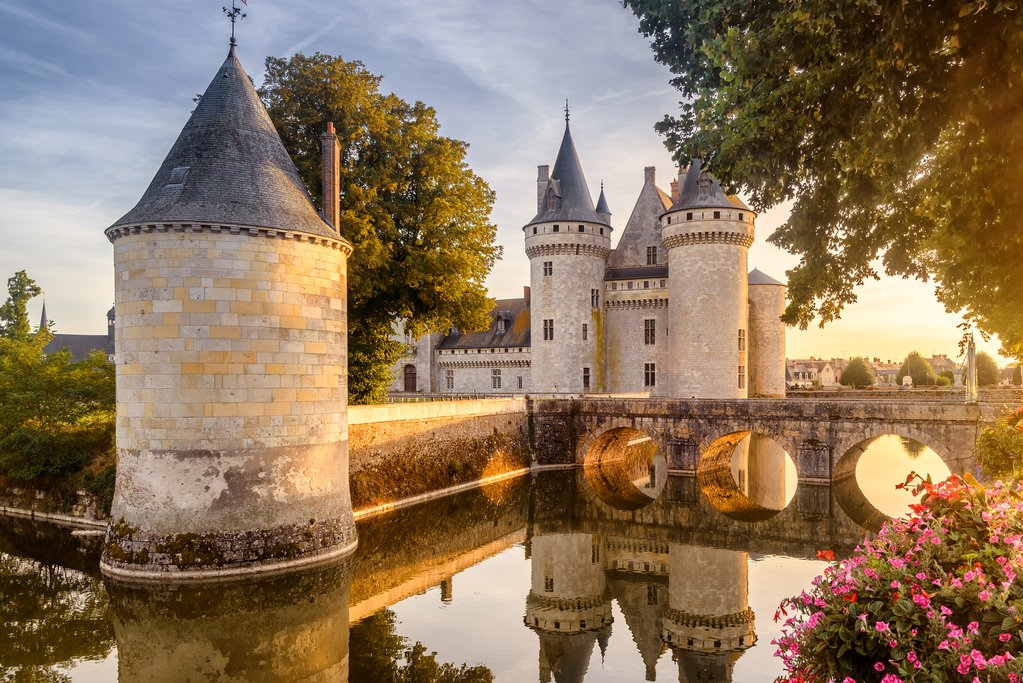 Famous medieval castle Sully sur Loire at sunset