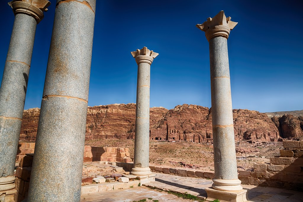 View of monuments from ruins of ancient church, Petra