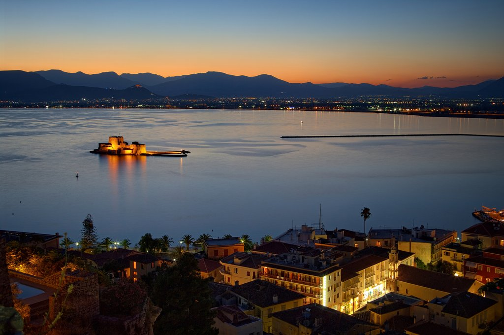 Bay of Nafplio and the Bourtzi Castle at sunset